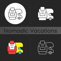RV furniture dark theme icon vector