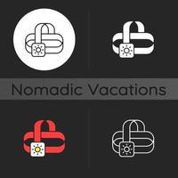 Travel headlamp dark theme icon vector