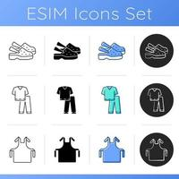 Disposable medical uniform icons set vector