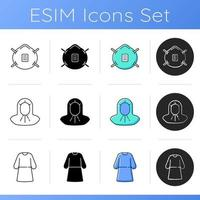 Personal protective equipment icons set vector