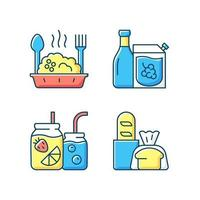 Takeaway and delivery option RGB color icons set vector