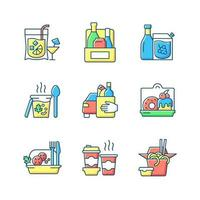 Pickup and delivery option RGB color icons set vector