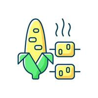 Boiled and grilled corn RGB color icon vector