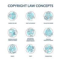 Conjunto de iconos de concepto de ley de derechos de autor vector