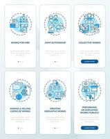 Pantalla de página de aplicación móvil de incorporación de ley de derechos de autor con conjunto de conceptos vector