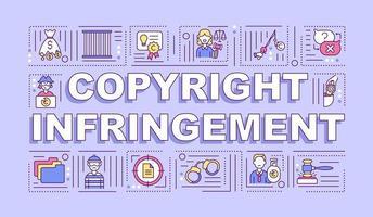 banner de conceptos de palabra de infracción de derechos de autor vector