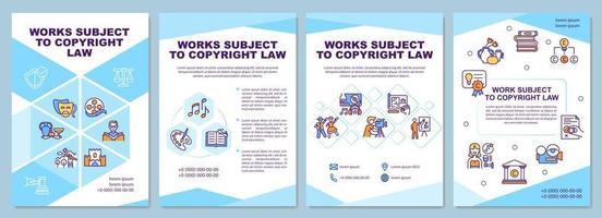 Plantilla de folleto de obras sujetas a la ley de derechos de autor vector