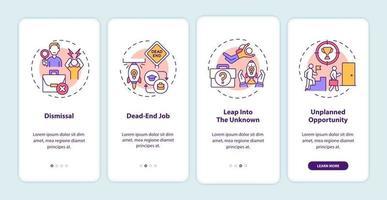 Razones de transición laboral para incorporar la pantalla de la página de la aplicación móvil con conceptos vector