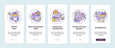 Resignation checklist onboarding mobile app page screen with concepts vector