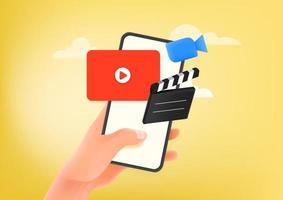 Man using video hosting application on smartphone vector