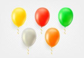 conjunto de vectores de globos de color aislado sobre fondo transparente