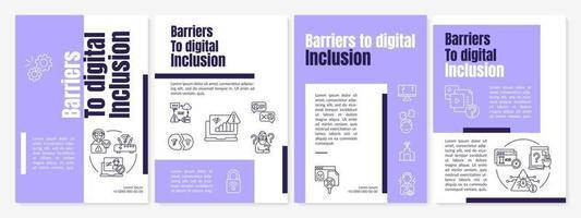 Plantilla de folleto de barreras a la inclusión digital vector