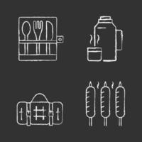 Outdoor social gathering chalk white icons set on black background vector