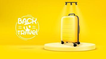Bright yellow scene with yellow bag Back to travel concept vector