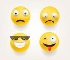 Emoticons in cute 3d style vector set isolated on white