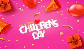 International Childrens day horizontal greeting banner vector