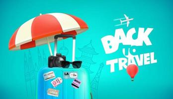 Travel bag with stickers digital camera and sunglasses vector