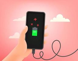 Charging modern smartphone vector