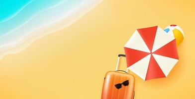Summer travel illustration with beach stuff vector