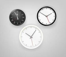 Different clocks on a wall vector set