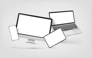 Modern desktop personal computer and other gadgets vector