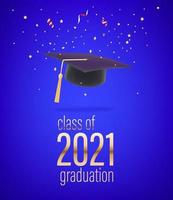 Flying confetti and graduation cap vector