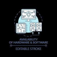 Disponibilidad de hardware y software icono concepto turquesa vector