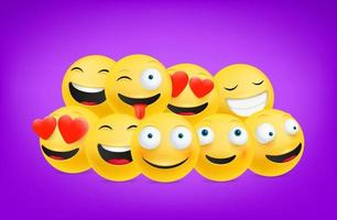 Smiling and laughing emoticons vector