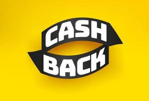 Cash back yellow vector banner with arrows