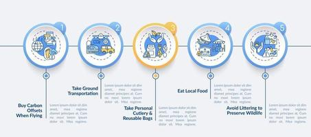 Sustainable tour tips vector infographic template