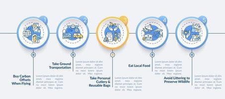 Plantilla de infografía de vector de consejos de viaje sostenible