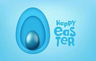 Happy Easter vector greeting card with papercut style