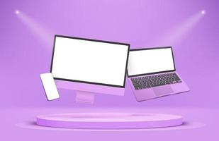 Modern violet smartphone laptop and desktop computer with blank screens vector
