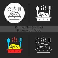 Takeaway porridge bowl dark theme icon vector