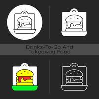 Takeaway sandwiches and burgers dark theme icon vector