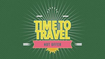 Animated Text Time to Travel with Sun Rays and Vintage Stamp on Green Summer Background video