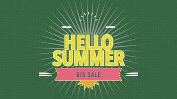 Animated Text Hello Summer with Sun Rays and Vintage Stamp on Green Summer Background video