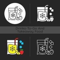 Slushy drinks to go dark theme icon vector