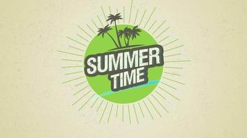 Animated Text Summer Time with Palms and Sun Rays on Green Summer Background video