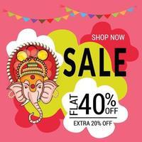 happy ganesh chaturhi 40 por ciento de descuento vector