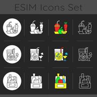 Takeaway and delivery option dark theme icons set vector