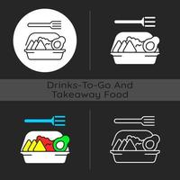 Family style meals takeout dark theme icon vector