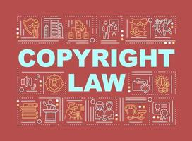 banner de conceptos de palabra de ley de derechos de autor vector