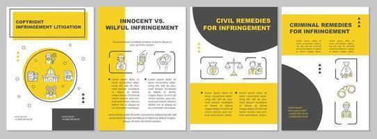 plantilla de folleto de litigio por infracción de derechos de autor vector