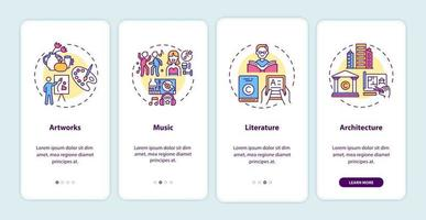 Objetos de copyright incorporando la pantalla de la página de la aplicación móvil con conceptos vector