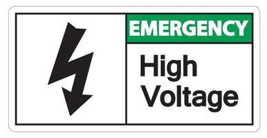 Señal de emergencia de alto voltaje sobre fondo blanco. vector