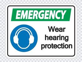 Emergency Wear hearing protection on transparent background vector