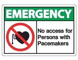 Sin acceso de emergencia para personas con signo de símbolo de marcapasos sobre fondo blanco. vector