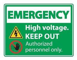 Señal de parada de emergencia de alto voltaje vector