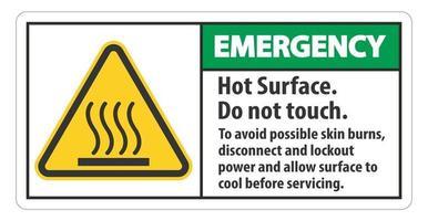superficie caliente no tocar para evitar posibles quemaduras en la piel desconectar y bloquear la energía y dejar que la superficie se enfríe antes de dar servicio al símbolo vector